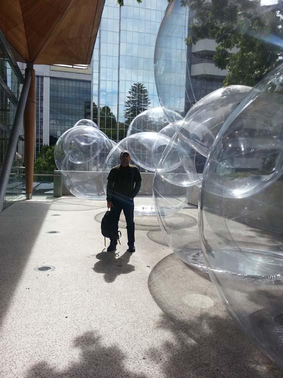 Human-scale bubble art. Yup.