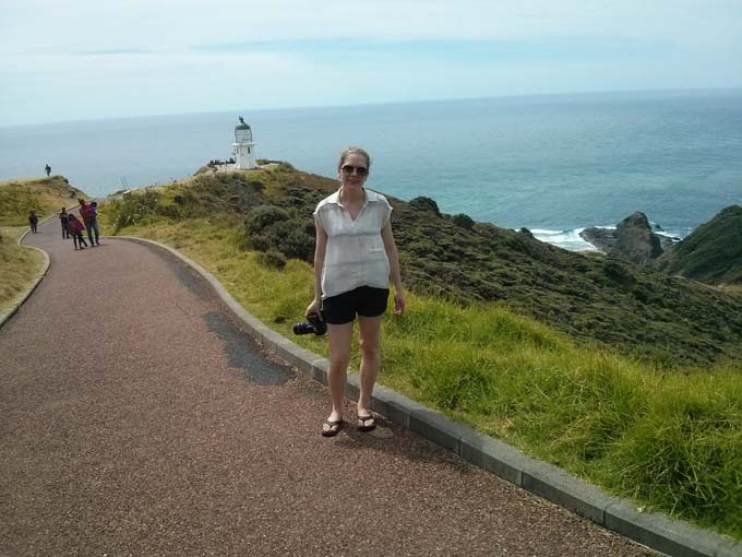 Jill on the walking path to the lighthouse.