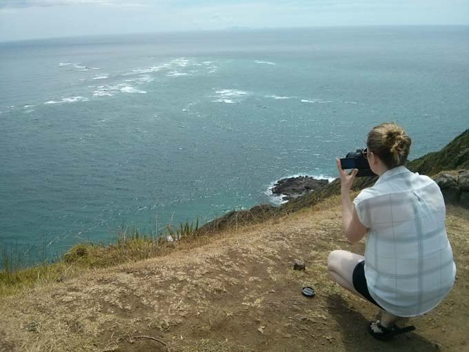 Jill taking a photo of the chaos from where the Pacific Ocean hits the Tasman Sea. An amazing sight to see.