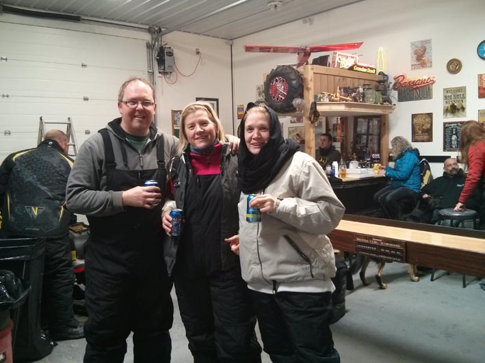 Jill, Devin & Shannon on the snowmobile party circuit!