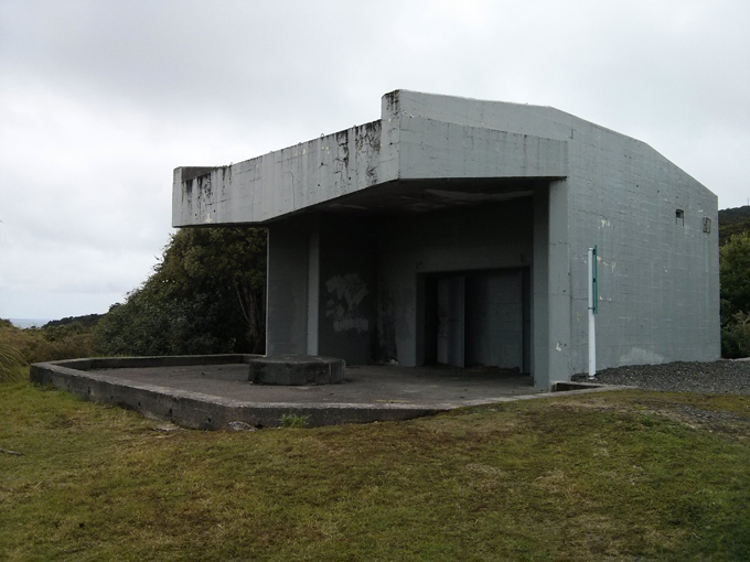 The Bluff Hill battery cannon post from World War II to issue marine defense to invaders.