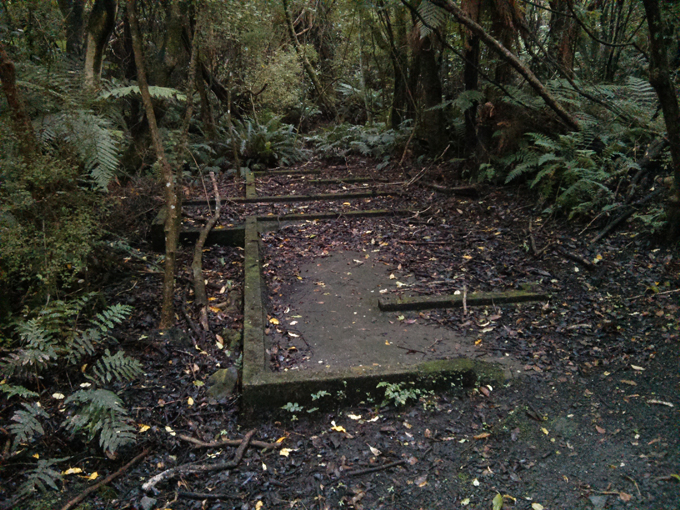 The Bluff Hill defense camp concrete foundation is all that remains of the soldiers sleeping post.