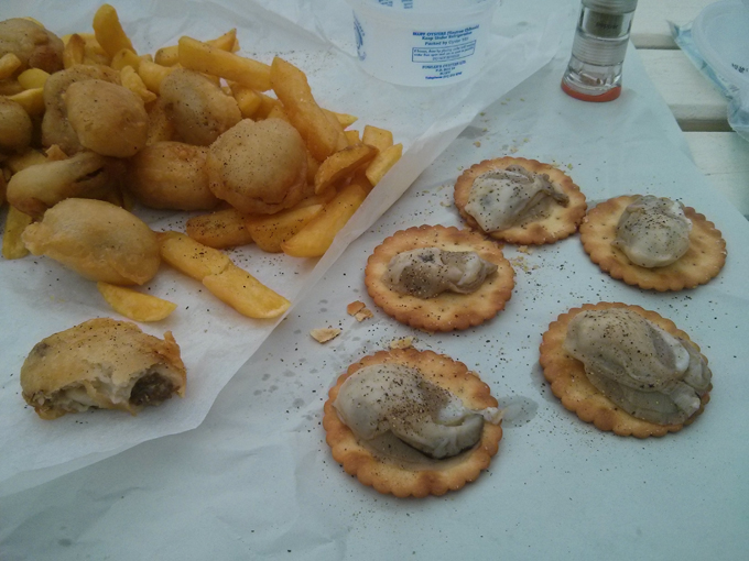 Bluff Oysters (raw on crackers and cooked with chips)