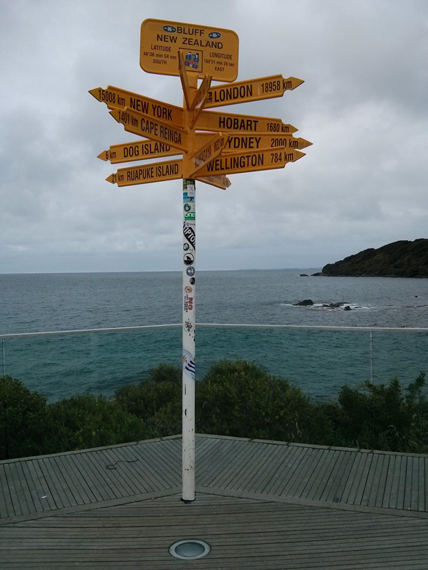 The sign post at the southern point of New Zealand...the opposite of the Cape Reigna sign post.