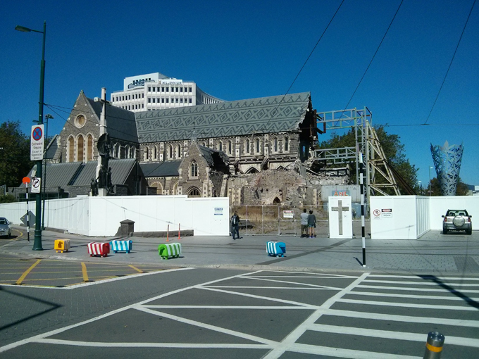 Christchurch 2011 earthquake damage to the cathedral. This sits as a monument to remember the darkest day in New Zealand history.