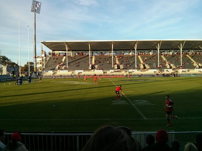 Our first live rugby game. The Crusaders have many All Blacks national players on their squad!