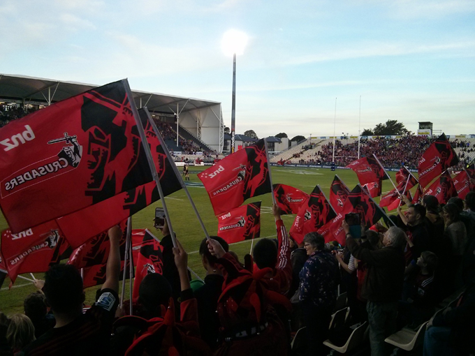 The Crusaders fans welcoming their team to the field.