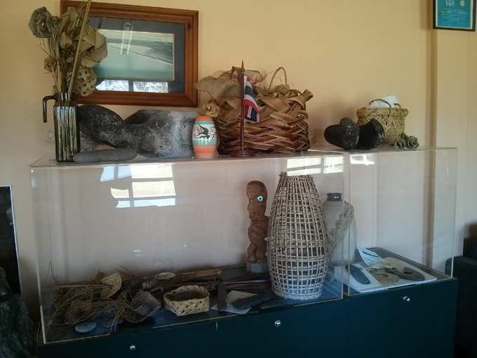Local Maori artifacts and pieces of whale bone.