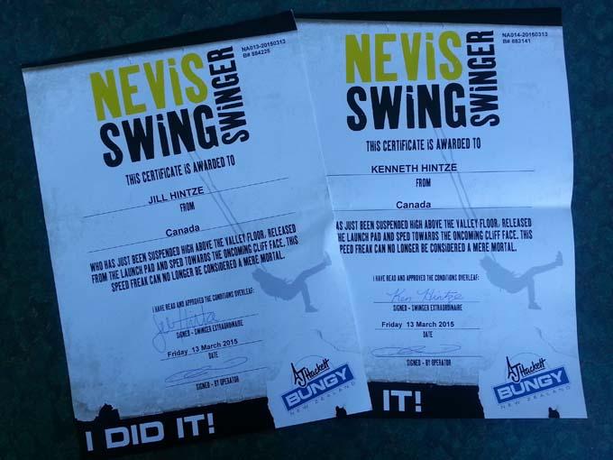Nevis swing certificate