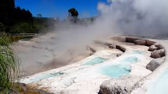 The Wairakei terraces with boiling hot water.