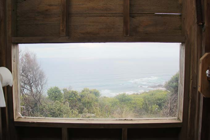 The best bathroom view in Australia. The Devil's Kitchen campsite bathroom looks out to the ocean.