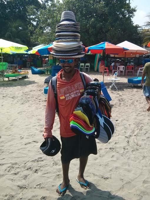 Bali-Hat Vendor on Beach