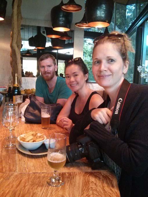 Tristan, Nancy and Jill chilling at the pub on the Brisbane boardwalk